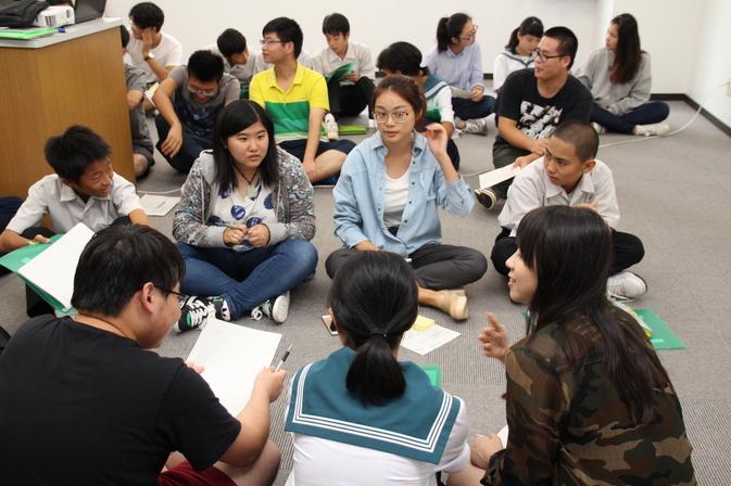 中部中学校の生徒さんと留学生との交流会を催しました
