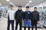 ソフトバンクホークスの内川選手が本学で自主トレーニング